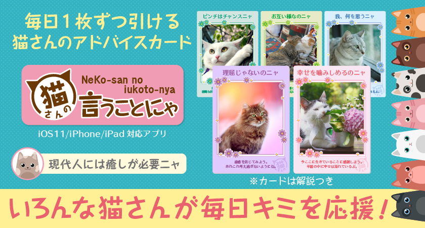【プレスリリース】毎日1枚ずつ猫からのアドバイスカードが引けるiOS用アプリ「猫さんの言うことにゃ」を8月8日リリース
